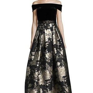 Eliza J Off-The-Shoulder Jacquard Gown  Black-Gold
